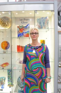 Sue Parry in her workshop at Ruskin Glass Centre